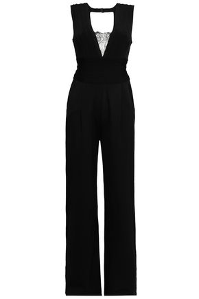 HERVÉ LÉGER Lace-paneled stretch-knit jumpsuit