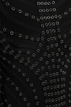 HERVÉ LÉGER Fringed eyelet-embellished bandage maxi dress