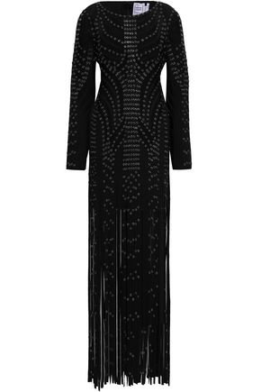 HERVÉ LÉGER Fringed eyelet-embellished bandage maxi dress