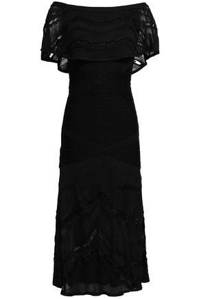HERVÉ LÉGER Off-the-shoulder paneled bandage and knitted midi dress