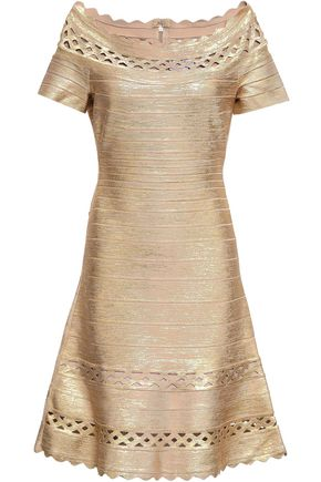 HERVÉ LÉGER Katherina off-the-shoulder metallic coated bandage dress