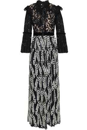 PERSEVERANCE Velvet-trimmed embroidered tulle and crepe gown