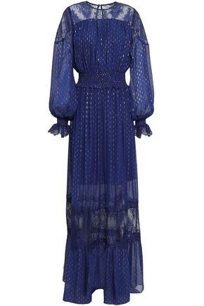 PERSEVERANCE Lace-paneled metallic fil coupé silk-blend maxi dress