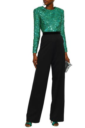 PERSEVERANCE Open-back sequined and twill jumpsuit