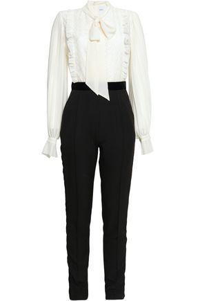 PERSEVERANCE Pussy-bow velvet-trimmed crepe jumpsuit