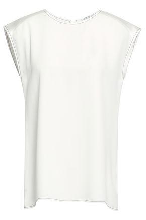 AGNONA Satin-paneled crepe top
