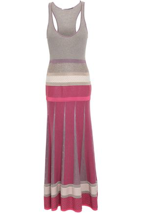 AGNONA Pleated paneled cashmere-blend maxi dress