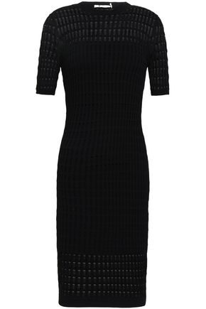 T by ALEXANDER WANG Paneled pointelle and ribbed-knit dress