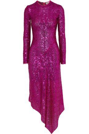PREEN by THORNTON BREGAZZI Clarissa asymmetric sequined mesh midi dress