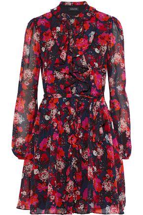 SALONI Tilly Ruffle C floral-print silk-chiffon mini dress