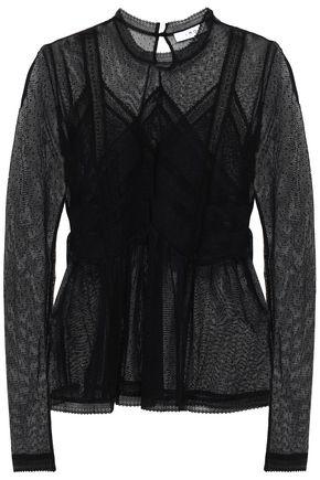 IRO Lace-trimmed point d'esprit blouse