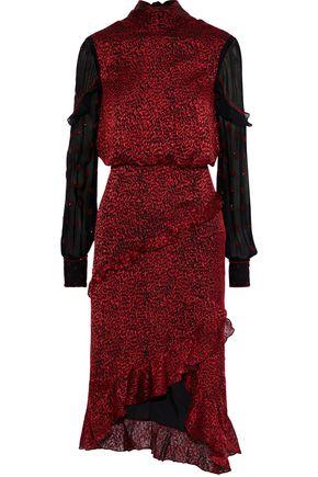 SALONI Bead-embellished silk-blend fil coupé and georgette dress