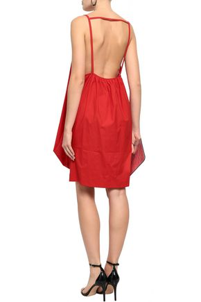 MAISON MARGIELA Open-back gathered cotton-blend poplin mini dress