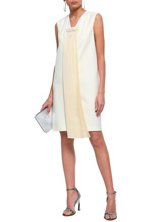 MAISON MARGIELA Plissé chiffon-paneled satin dress
