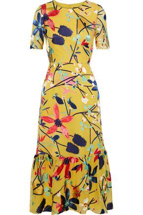 SALONI Lorna floral-print fil coupé chiffon midi dress