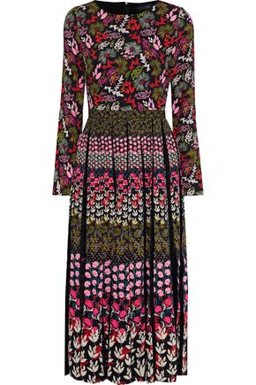 SALONI Lace-paneled pleated floral-print crepe midi dress