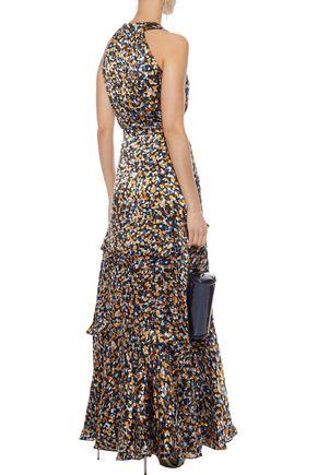 SALONI Rita B ruffle-trimmed printed burnout satin gown