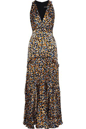 SALONI Rita B ruffle-trimmed printed burnout satin gown