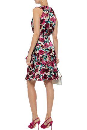 SALONI Rita ruffled floral-print fil coupé chiffon dress