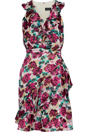 SALONI Rita ruffled floral-print fil coupé chiffon dress