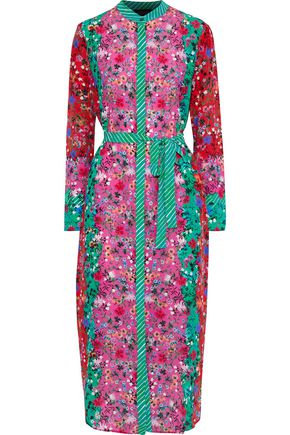 SALONI Molly printed silk crepe de chine midi shirt dress