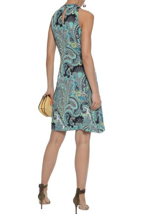 ETRO Pointelle-paneled printed stretch-jersey mini dress