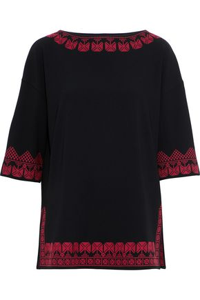 ETRO Embroidered crepe top