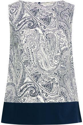 ETRO Poplin-paneled printed cotton, silk and linen-blend top