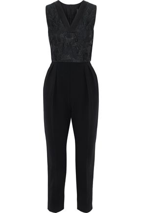 MAX MARA Orleans cropped brocade-paneled cady jumpsuit