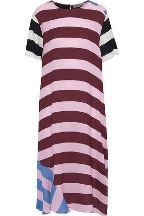 PREEN LINE Hana paneled striped crepe de chine midi dress