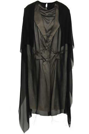 MAISON MARGIELA Paneled layered silk-georgette and satin dress