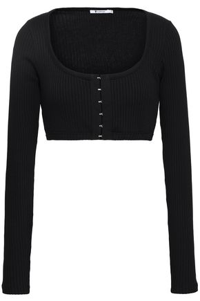 T by ALEXANDER WANG Cropped ribbed cotton and modal-blend jersey top