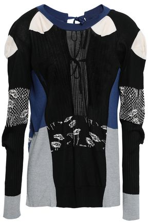 MAISON MARGIELA Lace-up intarsia-knit silk top