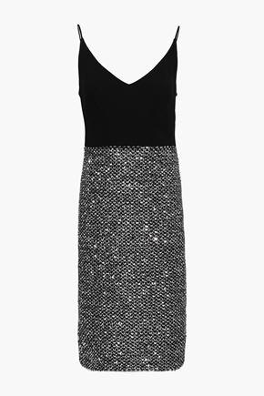 BLACK HALO Sequined-paneled cady dress