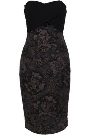 BLACK HALO EVE by LAUREL BERMAN Cutout paneled crepe and metallic brocade dress