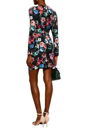 BLACK HALO Floral-print crepe mini dress