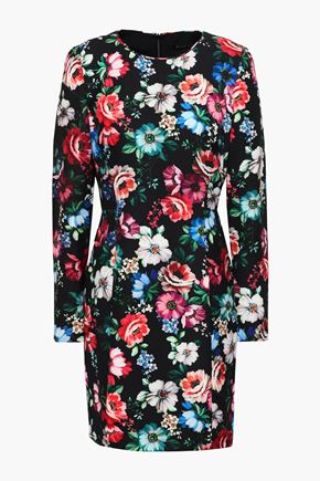 BLACK HALO Floral-print crepe mini dress