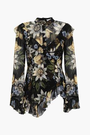 ERDEM Ruffled floral-print silk-chiffon blouse