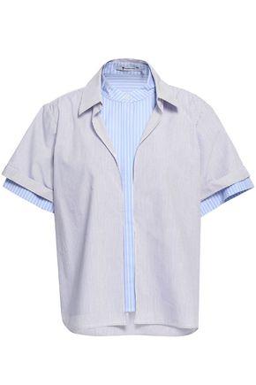 ALEXANDERWANG.T Striped cotton-blend poplin shirt