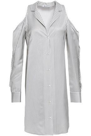 ALEXANDERWANG.T Cold-shoulder striped twill mini shirt dress