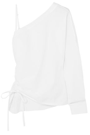T by ALEXANDER WANG One-shoulder cotton-poplin top
