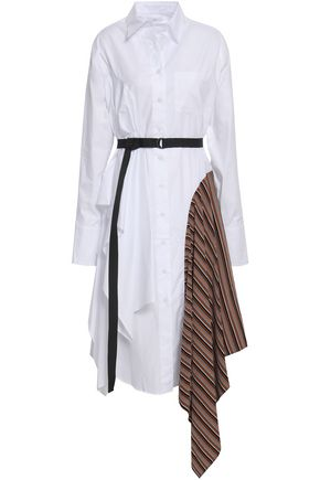 TOME Paneled striped cotton shirt dress