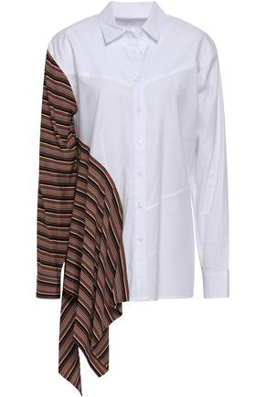 TOME Paneled striped cotton shirt