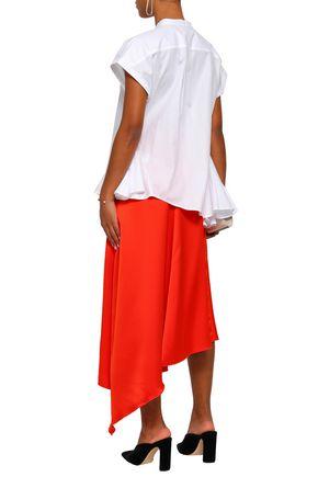 TOME Asymmetric fluted cotton-poplin shirt