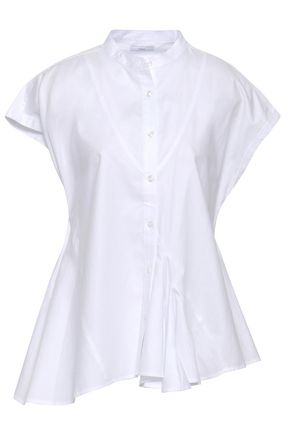TOME Asymmetric fluted cotton-poplin shirt
