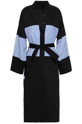 TOME Belted paneled stretch-cotton shirt dress