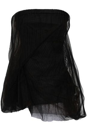 RICK OWENS Twist strapless gathered plissé-tulle top