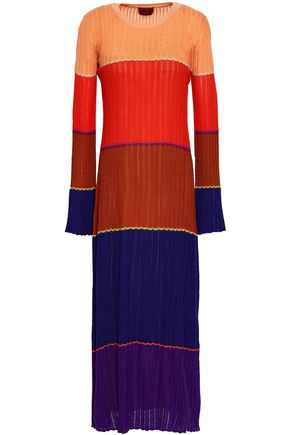 MISSONI Color-block wool-blend midi dress