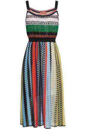 MISSONI Striped crochet-knit midi dress