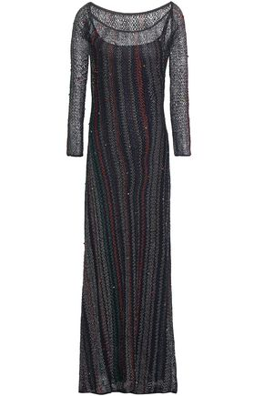 MISSONI Embellished crochet-knit maxi dress